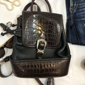 Brighton Backpack drawstring leather croc Bag